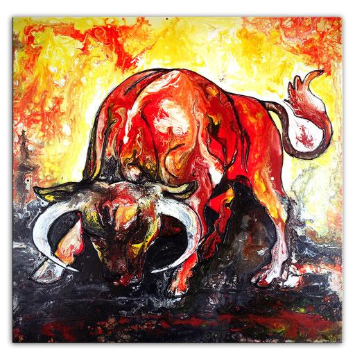 T 28 - Tierbilder Malerei Tiere - Wilder Stier 1