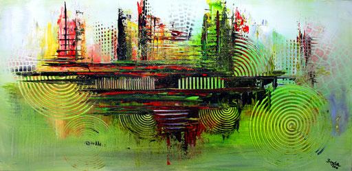128 Verkaufte abstrakte Bilder - Natur - Nature - grün gelb rot grau