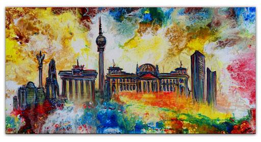 S 72 - Malerei Bild Wandbild Berlin Skyline abstrakt