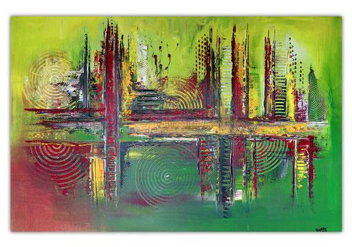 299 - Abstraktes Gemälde Way of Life - grün rot gelb 80x120cm