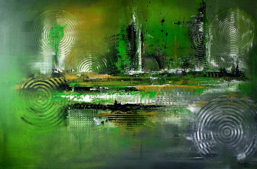 96Verkaufte abstrakte Bilder - Inspire 1 - grün grau