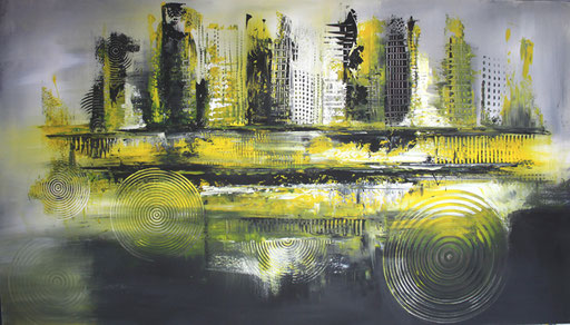 101 Verkaufte abstrakte Bilder - Izamal 2 - gelb grau