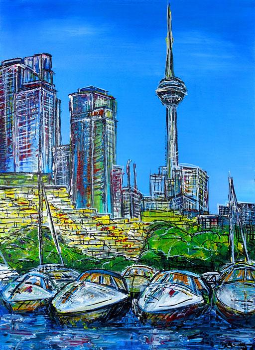 S 45 - Hafen Toronto 60x80 - Moderne Malerei Stadtbild Stadt Gemälde