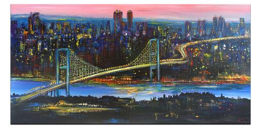 S 87 - Malerei Bild Wandbild Istanbul Bosporus Skyline abstrakt