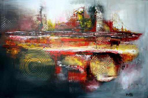 75 abstraktes Unikat handgefertigt - Goldene Stadt - rot gelb grau schwarz