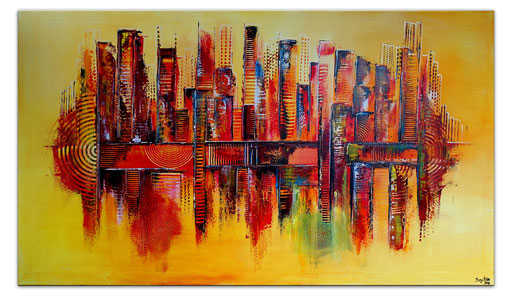 335 Leuchtende Stadt abstrakte Malerei Wandbild Gemälde