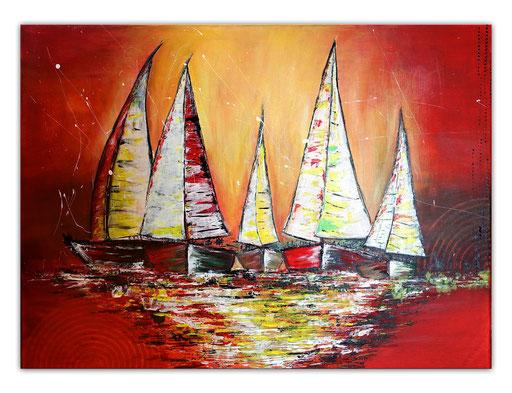 L 23 - Segelboote abstrakt Sonnenuntergang handgemalt Gemälde Malerei