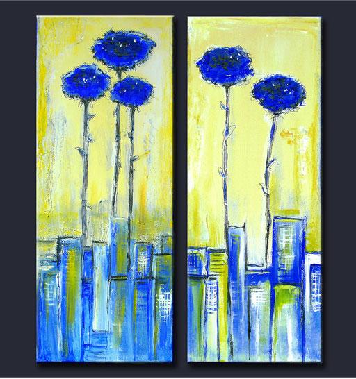 B 51 - Blumen Malerei Blumengemälde handgemalt