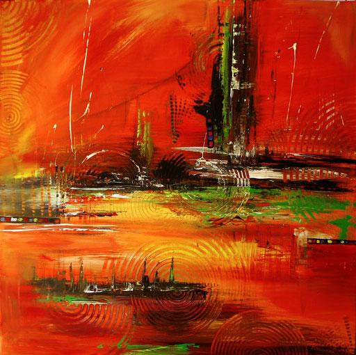180 Verkaufte Bilder abstrakt - Stromboli gemalt - orange rot gelb