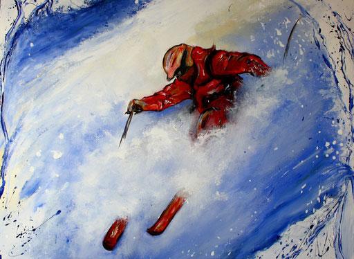 S 18 - Sport Gemälde Skifahrer Leinwandbild - Tiefschnee