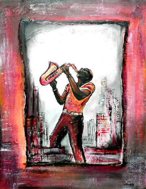 F 48 - Figuerliche Malerei - Figurative Wandbilder - Saxophonspieler