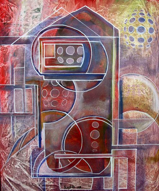 154 Verkaufte Bilder abstrakt - Rotes Haus gemalt