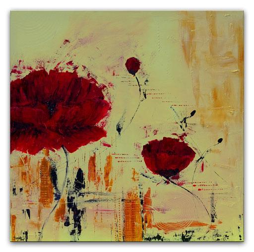 B 39 - handgemalte Blumenbilder Blumen Gemälde Mohnblumen rot ocker
