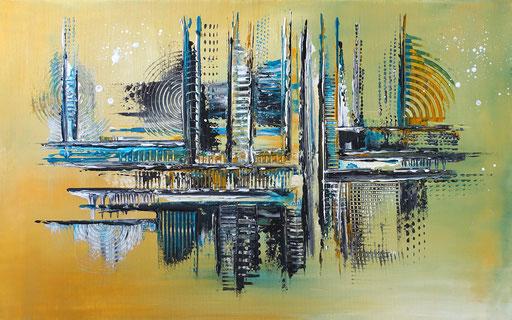 269 - Abstrakte Gemälde Verkauft - ocker türkis