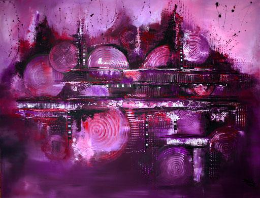 113 Verkaufte abstrakte Bilder - Lila City 2 - Skyline Bilder violett rot lila
