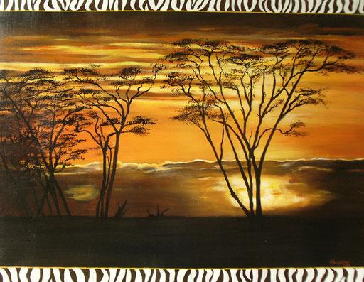 L 12 - Landschaftsbilder Gemälde - Sonnenuntergang Afrika