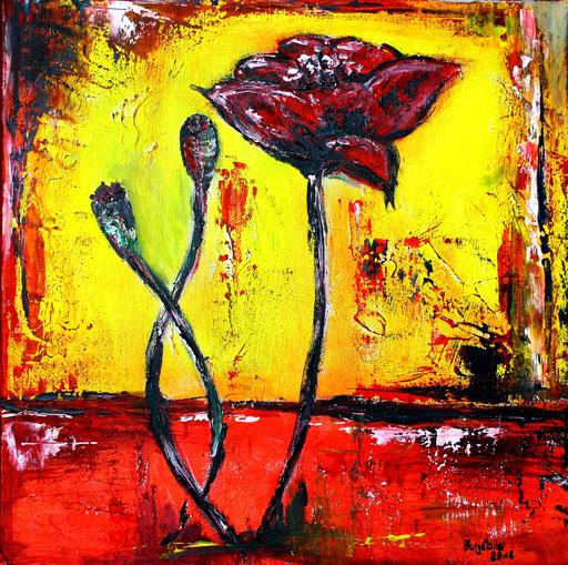 B 55 - Blumen Malerei Blumengemälde handgemalt Mohnblume gelb rot abstakt 2 - 40x40