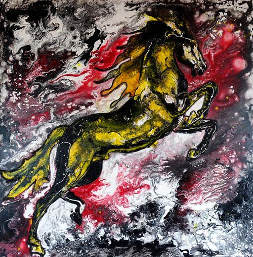 T 9 - Tierbilder Malerei Tiere - Pferd gelb grau