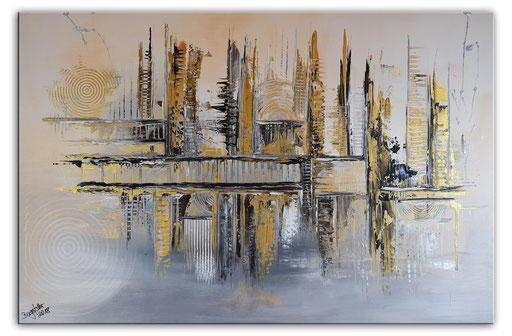 288 - Abstrakte Gemälde Verkauft - Verworren Silber gold 80x120