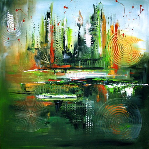 61 abstraktes Unikat handgefertigt - Floating - grün rot gelb