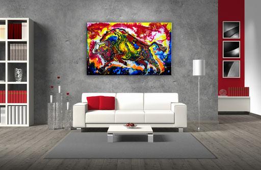T 31 - Tierbilder Malerei Tiere - Wilder Stier abstrakt Sprung