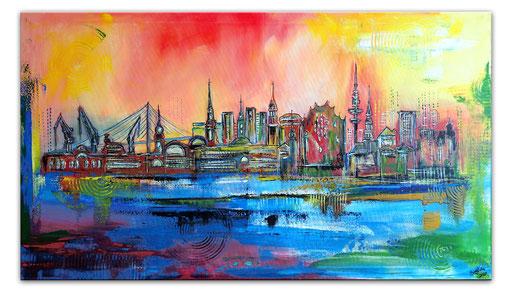 S 75 - Malerei Bild Wandbild Hamburg Hafen Skyline abstrakt