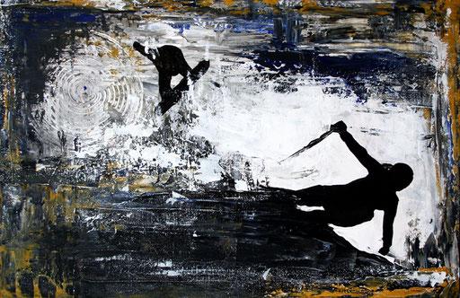 S 26 - Sport Gemälde Skifahrer Leinwandbild - The Race