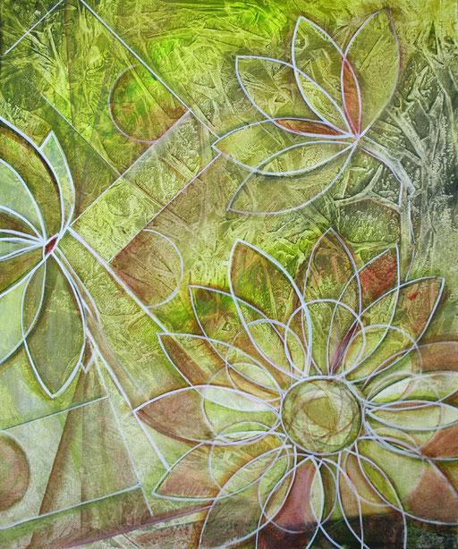 B 4 - Blumenbilder auf Leinwand - Blume gelb grün