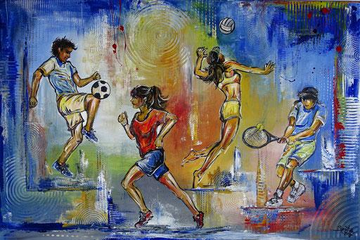 S 64 - Sport Gemälde Jogger Running Tennis Volleyball Wandbild