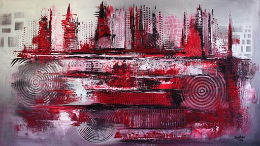 5 Handgemalte Unikate abstrakt rot grau - Galonska