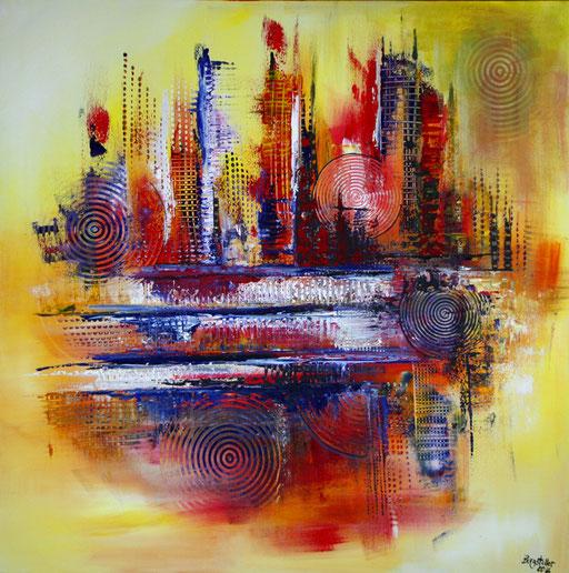 118 Verkaufte abstrakte Bilder - Miami gemalt - Skyline