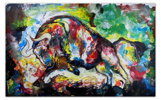 T42 Wilder Stier Bulle handgemalt Original Gemälde