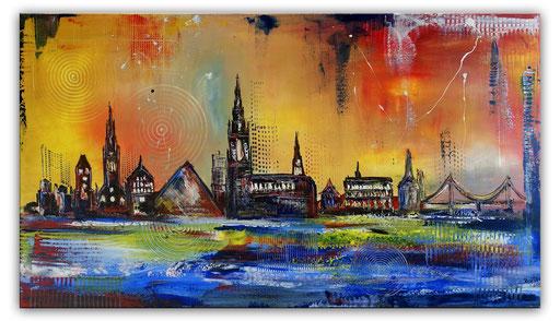 S 93 - Malerei Bild Wandbild Ulmer Donau Skyline abstrakt