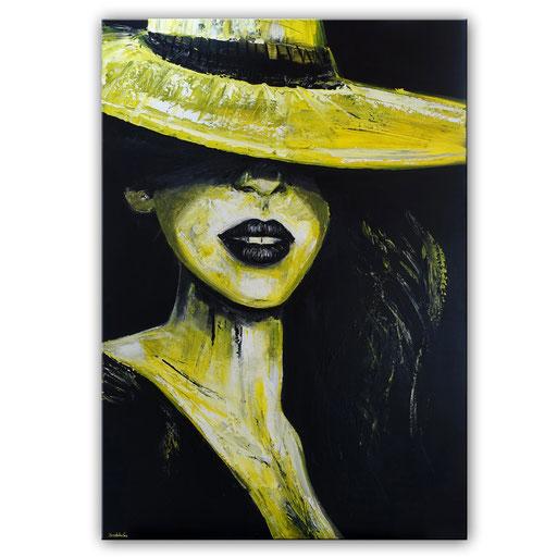 P 63 - Porträt Gesichter Malerei - Frau mit gelbem Hut 2