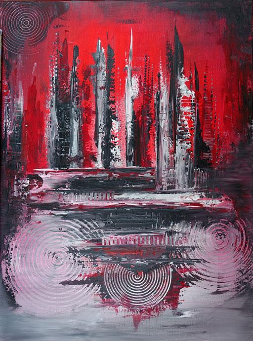 48 Kunst Unikat abstrakt - Eruption 2 - rot grau schwarz