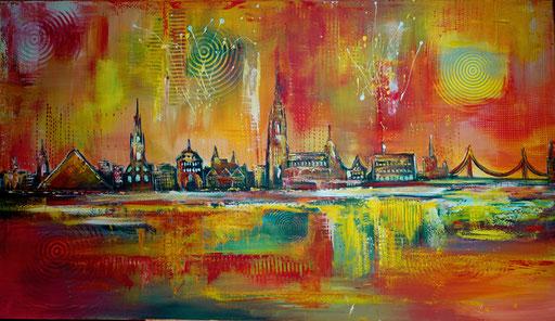 S 53 - Ulmer skyline stadtbild handgemalt münster bücherei galerie acrylbild