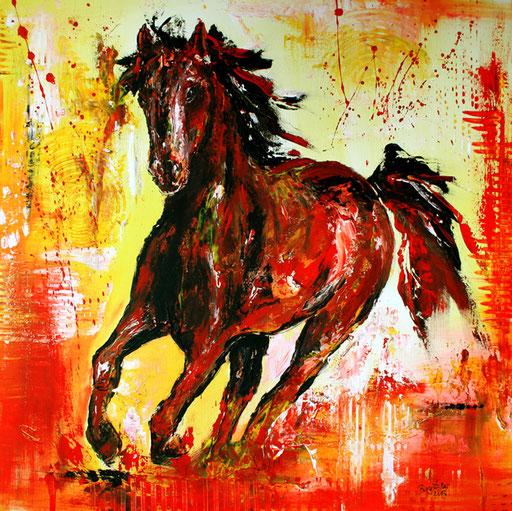 T 8 - Tierbilder Gemälde Tiere - Pferd orange gelb