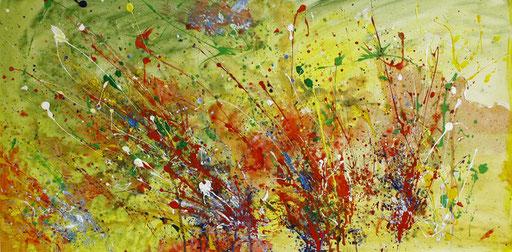 19 Handgemaltes Unikat abstrakt - Befruchtung - gelb rot grün bunt