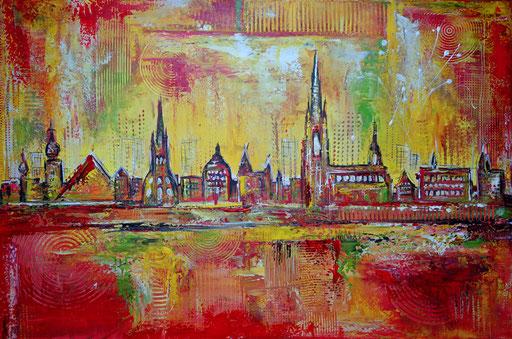 S 33 - Stadtbilder auf Leinwand - Ulm Skyline mediteran
