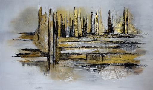 208 Verkaufte abstrakte Malerei - Golden Bridge gemalt