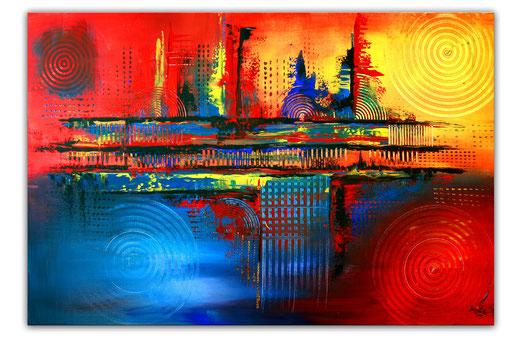 259 Verkaufte abstrakte Malerei gelb rot blau xxl bild querformat