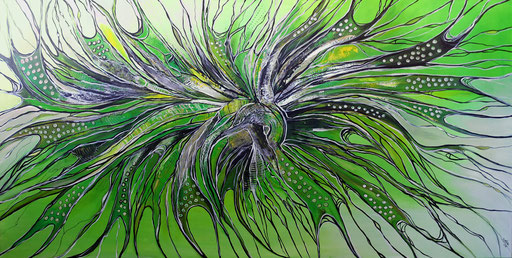 255 Verkaufte abstrakte Malerei xxl bild grün grau querformat