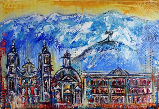 S 52 - Innsbruck abstrakt mit Bergisel 50x60 - Malerei Stadtbild Stadt Gemälde