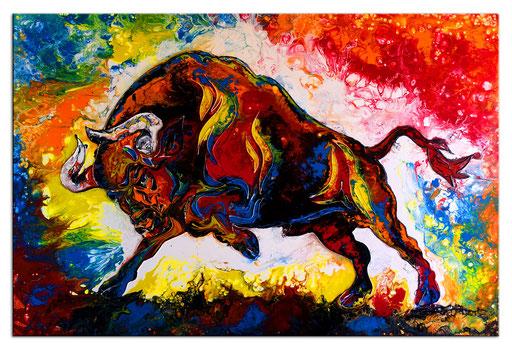 T 40 - Tierbilder Malerei Tiere - Wilder Stier abstrakt rot gelb