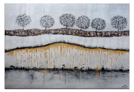 L 31 Struktur Bäume gold grau Malerei