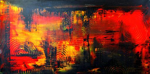 1 Handgemalte Unikate abstrakt rot schwarz gelb