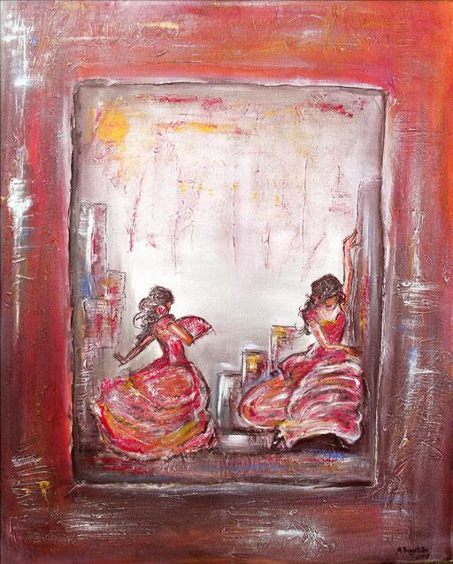 F 17 - Figuerliche Malerei - Figurative Wandbilder - Flamenco