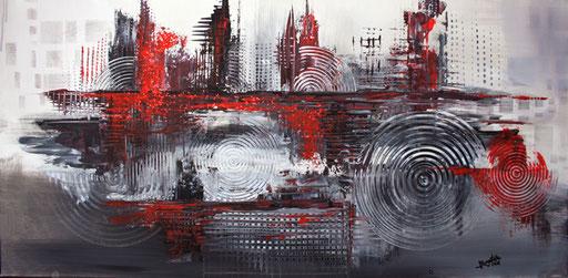 110 Verkaufte abstrakte Bilder - Lebensnah - rot grau