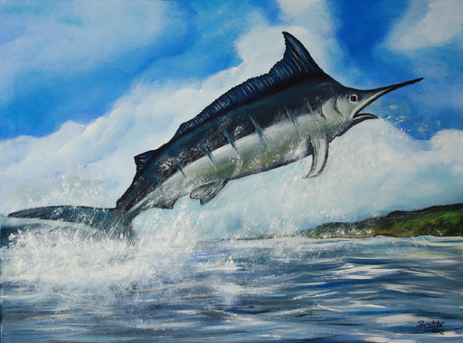 T 20 - Tierbilder Malerei Tiere - Blue Marlin