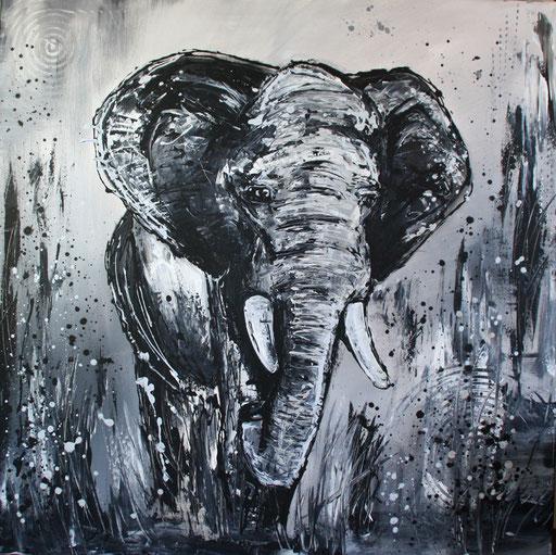 T 7 - Tierbilder Gemälde Tiere - Elefant modern grau